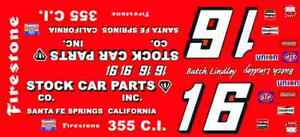 #16 Butch Lindley 1970's Nova 1/24th - 1/25th Scale Nascar Waterslide Decals