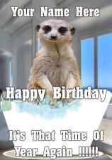 Meerkat bd75 Bath Time Fun Cute Birthday Card A5 Personalised Greetings