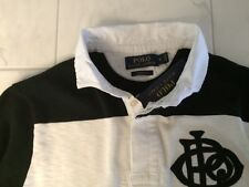 NWT POLO RALPH LAUREN MENS LS BLACK WHITE RUGBY SHIRT FOOTBALL MSRP SMALL $125