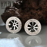 18K White Gold 6mm Round 0.44ct Natural Diamond Semi Mount Earrings Jackets