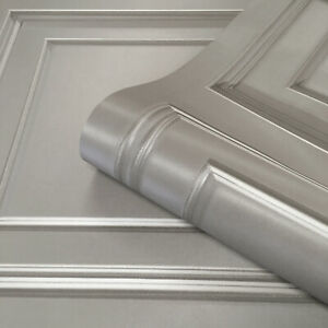 3D Panel Effect Wallpaper Heavy Weight Italian Amara Wood Textured Vinyl Grey