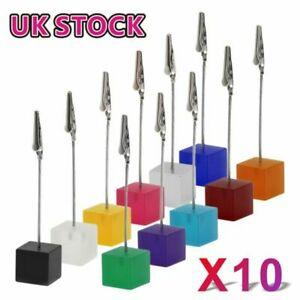 1/10x Cube Memo Clip Name Place Card Holders Table Number Picture Note Stand