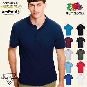 Mens Original Pique Polo Shirt Fruit of the Loom Classic Fit Top Short Sleeve