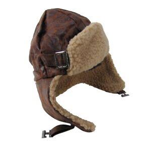 Brown Leather Aviator Helmet Wool Bomber Pilot Trooper Hat Warm Winter Ski Cap