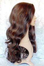 "1.5"" Lace Front Long Wavy Brown/Auburn High Heat Ok Full Synthetic Wig wigs-CM17"