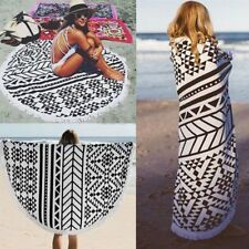 150cm Large Cotton Round Beach Blanket Bath Swimming Thick Towels Mat Long Scarf