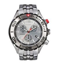 NEW TIMEX SILVER TONE S/STEEL CHRONOGRAPH SILVER DIAL MEN'S WATCH-T2M7606K