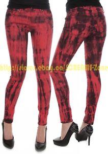 Hot Topic RED Black Tie Dye Club Denim Skinny Jeans Goth Punk Visual Kei Pants