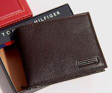 Tommy Hilfiger Men's Bifold Leather Passcase Wallet  - Brown