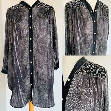 Ladies Black White Animal Print Embroidered Button Up Blouse Silky Tunic Size M