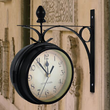 Vintage Wall Clock Electronic Double Side Station Wall Clock Outdoor Garden NEW