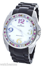 Anne Klein Women's MOP Dial Black Band Multi-color Crystal Bezel Watch 10/9293