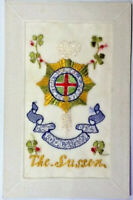 WW1 SILK EMBROIDERED POSTCARD - THE SUSSEX - POSTMARK 5th Aug 1916 Shoreham Camp
