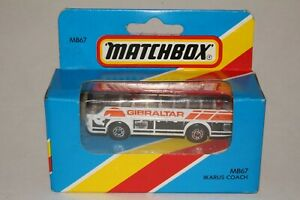 MATCHBOX #MB67 IKARUS COACH BUS, WHITE, GIBRALTAR TAMPO, NEW IN BOX