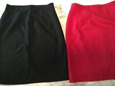 Lot Of 2 Dress Barn Skirt Pencil Straight Lined Women's Size 8 NWT Red And Black