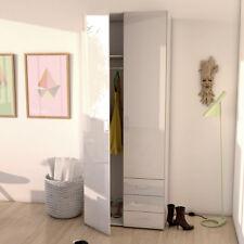 Kleiderschrank weiß Suros Schrank Hochglanz 2 Türen 3 Schubkästen Höhe 200 cm