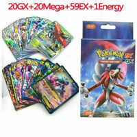 100Pcs Pokemon Cards 20GX+20Mega+59EX+1Energy Holo Flash Trading Card Mixed US