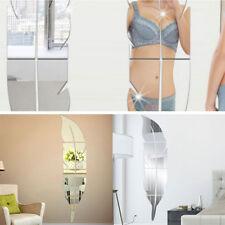 3D Plume Miroir Stickers Muraux Amovible Autocollant Maison Art DIY Décoration