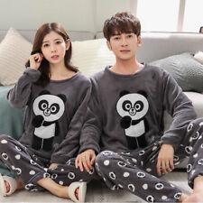 Unisex Adult Winter Flannel Sleepwear Warm Fleece Pyjama Sets Nightgown Lovers