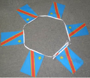 Democratic Republic of Congo Kinshasa Zaire Bunting 20 Flags 6 Metres Banner