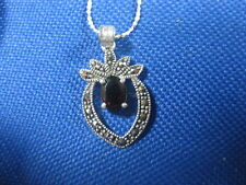 STERLING SILVER 21 INCH CHAIN WITH A MARQUISETTE GARNET PENDANT