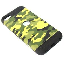 For iPod Touch 5th 6th Gen -HARD&SOFT RUBBER HYBRID CASE CAMO GREEN YELLOW ARMY