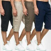 Mens 3/4 Long Shorts Elasticated Waist Cargo Combat Three Quarter M L XL 2XL 3XL