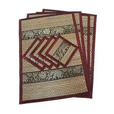 4 PLACEMAT REED RED SILK THAI ELEPHANT DINING TABLE PLATE MAT HANDMADE HANDCRAFT