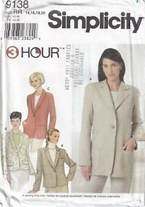 Simplicity Sewing Pattern 9138 3 Hour Jacket, Shawl or Notch Collar Sz 14-20