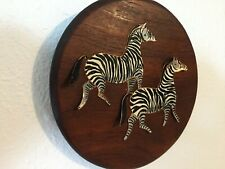 Vintage Hand Painted Zebras On Copper and Affixed To A Wood Plaque