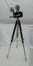 Antique Black Reproduction Floor Camera Projector on Black Wooden Tripod Stand
