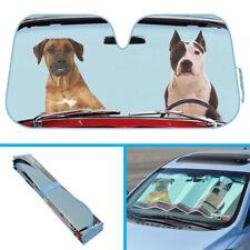 2 Dogs Driving Car Sun Shade - Boxer Pitbull Auto SUVs Van Windshield Cover
