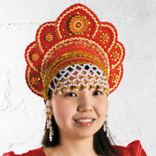 Kokoshnik Traditional Russian Folk Costume Headdress. Elena Red Кокошник