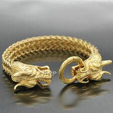 Men's Bling Gold Plated Dragon Heads Stainless Steel Franco Cuban Chain Bracelet