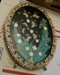 Vtg Framed Cut and Rolled Paper Art Floral Ornate Frame COTTAGECORE
