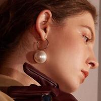 Fashion Women Simple Pearls Geometric Hoop Drop Dangle Earrings Gifts