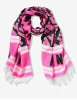 Victoria's Secret Pink Scarf Fringe Oversized Wrap Blanket Logo Winter Cozy Warm