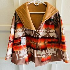 Southwest Aztec Yellowstone Print Poncho Type Coat womens jacket bright Large L