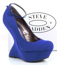 Women's Shoes Steve Madden Gravity Sculpted Platform Wedge Blue Suede Size 8.5