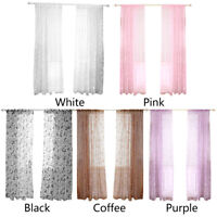 Butterfly Print Flocking Tulle Curtains Living Room Half Blackout Window Screen