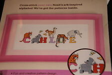 NIP counted cross stitch kit Noah's Ark alphabet make any name or words 7x3
