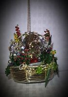 Handcrafted Basket Of Flowers Ceiling Fan Pull Made With Swarovski Light Gold