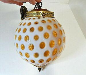 "Vintage Fenton Honeysuckle Opalescent Glass Coin Dot Parlor 8"" Round Globe Lamp"