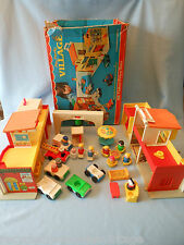 1973 Fisher Price Play Family Village 997  box missing mail and cop car has xtra