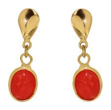 Ohrstecker Gold 585 mit Koralle - Ohrhänger - Korallenohrstecker - Ohrringe