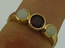 R076 - Genuine 9ct Solid Gold NATURAL Garnet & Real Opal Trilogy Ring size N