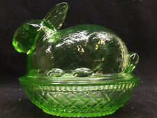Green Vaseline glass bunny rabbit uranium on nest basket dish easter candy neon