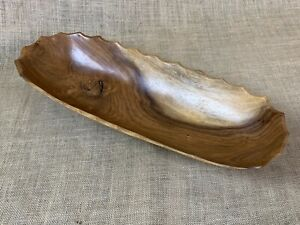 Exotic Wood Scallop Edge Tray Handmade in BELIZE * Serving Dish *  Modern