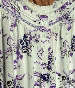 Medium/Large New 100% Cotton White Purple Floral Print Nightgown Lace Tee Knit