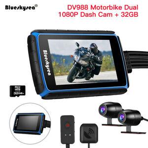 Blueskysea DV988 Dash Cam 140 ° Weitwinkels 2CH 1080P Motorrad Wifi GPS W/32GB